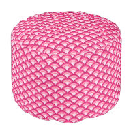 Art Deco wave pattern - fuchsia and coral Round Pouf