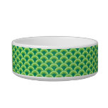 Art Deco wave pattern - jade green Pet Food Bowl