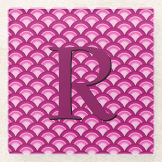 Art Deco wave pattern - magenta and pink Glass Coaster