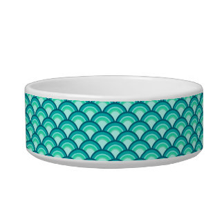 Art Deco wave pattern - shades of turquoise Bowl