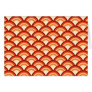 Art Deco wave pattern - tangerine orange Card