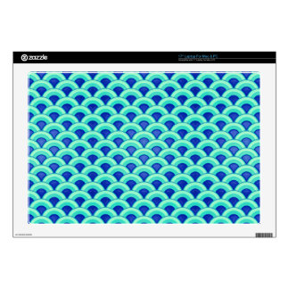 "Art Deco wave pattern - turquoise and cobalt 17"" Laptop Skin"