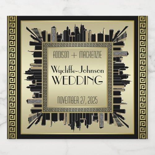 Art Deco Wedding Champagne Gold Gatsby Glamour Champagne Label