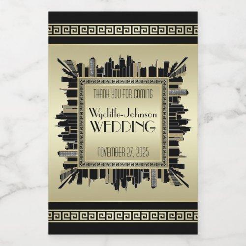 Art Deco Wedding Champagne Gold Gatsby Glamour Wine Label