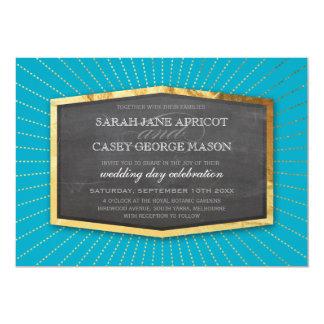 "ART DECO WEDDING gold sunburst gray turquoise blue 5"" X 7"" Invitation Card"