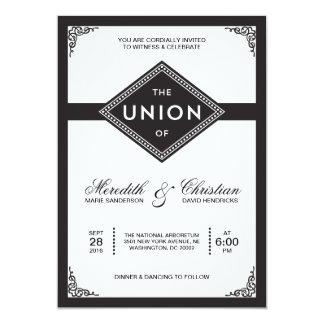 "Art Deco Wedding 5"" X 7"" Invitation Card"