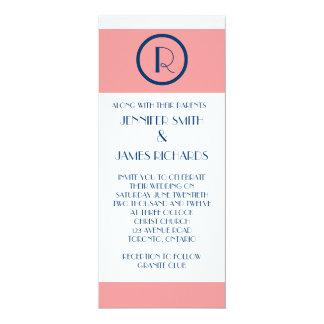 "Art Deco Wedding Invitation Coral Navy Blue WHite 4"" X 9.25"" Invitation Card"