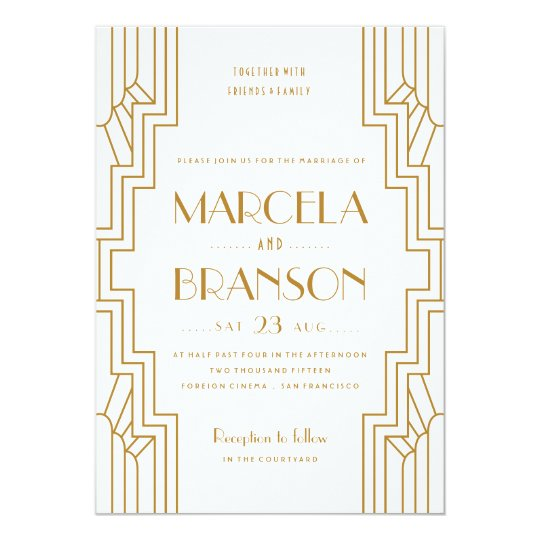 art deco wedding invitation in gold and white zazzle com