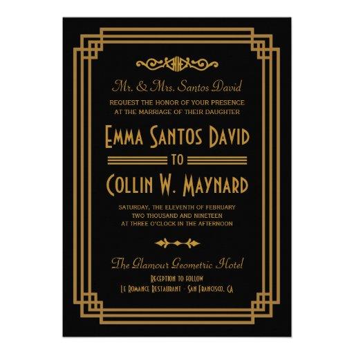 Free Wedding Invitation Samples Zazzle Art Deco Wedding Invitations Zazzle