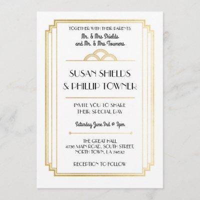 Art Deco Wedding Invitations White & Gold 1920's