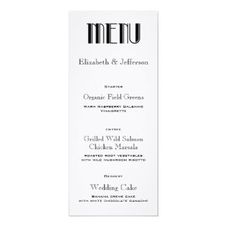 Art Deco Wedding Menu Card