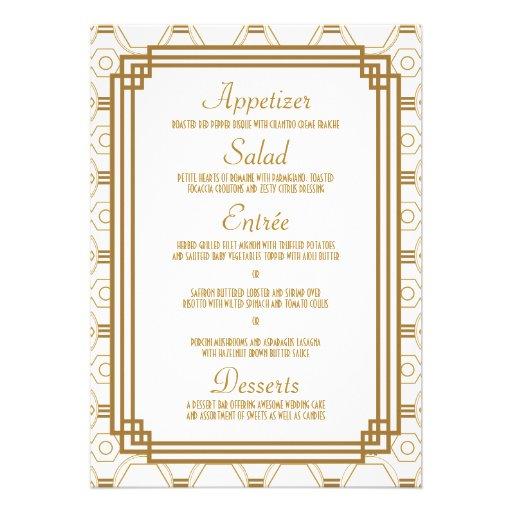 Art Deco Wedding Menu Cards 5 Quot X 7 Quot Invitation Card Zazzle