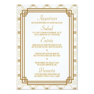 "Art Deco Wedding Menu Cards 5"" X 7"" Invitation Card"