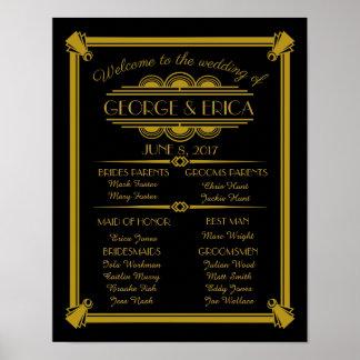 Art Deco wedding program, wedding party silver Poster