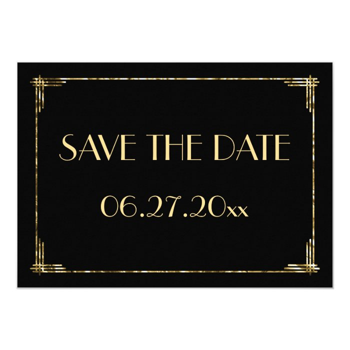 art deco wedding save the date card gold foil zazzle. Black Bedroom Furniture Sets. Home Design Ideas