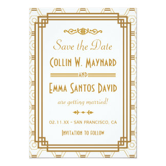 Art Deco Wedding Save The Date Invitations