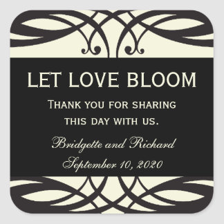 Art Deco Wedding Seed Packet Labels Square Sticker