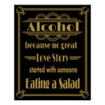 "Art Deco Wedding sign ""Alcohol Print"