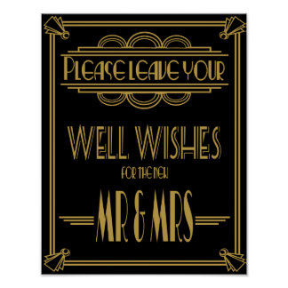 Art Deco Wedding sign Gold and black wishes sign