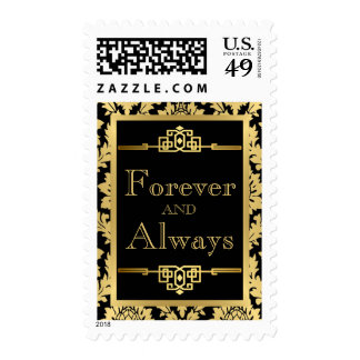 Art Deco Wedding Stamp with  Gold Damask
