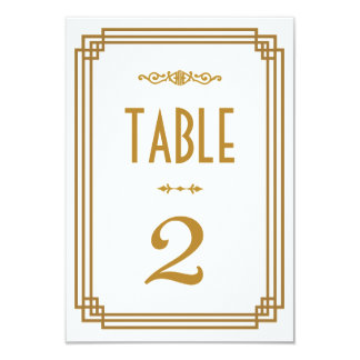 Art Deco Wedding Table Numbers 3.5x5 Paper Invitation Card