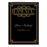Art Deco Wedding Thank you card gold GATSBY