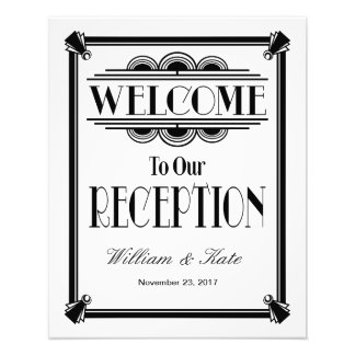 Art Deco Welcome To Our Reception Wedding Sign