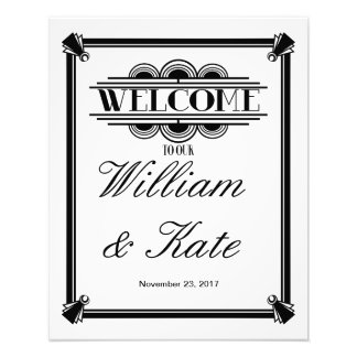 art deco, welcome to our wedding sign