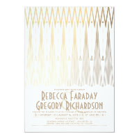 Art Deco White and Gold Elegant Geometric Wedding Card