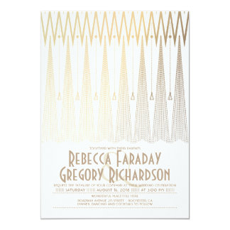 Art Deco White and Gold Gatsby Chic Wedding Card