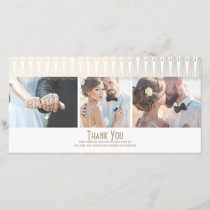 Art Deco White and Gold Photo Wedding Thank You