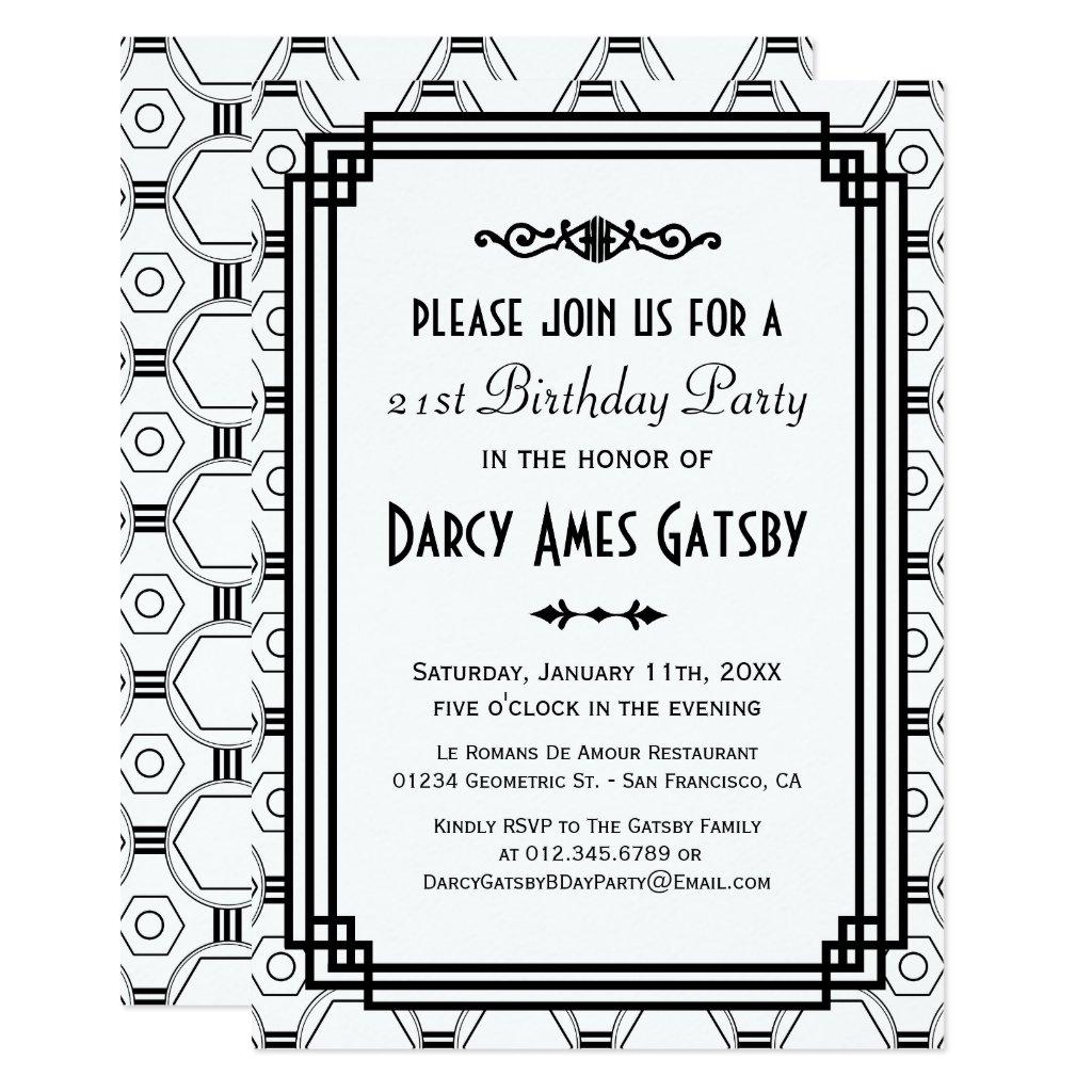 Art Deco White & Black Birthday Party Invites