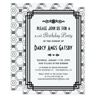 Art Deco White & Black Birthday Party Invites