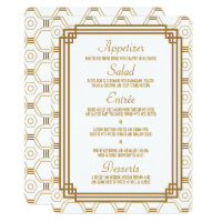 Art Deco White Wedding Menu Cards
