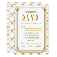Art Deco White Wedding RSVP Cards