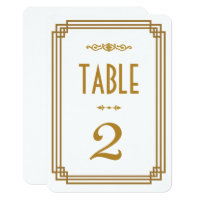 Art Deco White Wedding Table Numbers