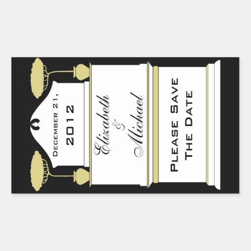Art Deco Wine Bottle Label Save The Date Rectangular Sticker