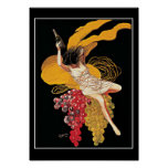 Art Deco Wine Grapes vintage  Print Poster