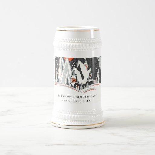 Art Deco Winter Holiday Coffee Mug