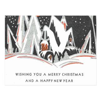 Art Deco Winter Holiday Postcard