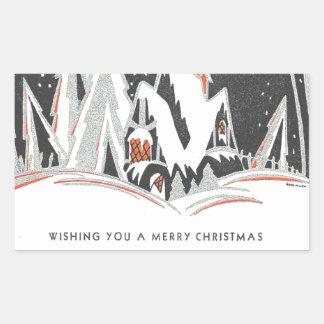 Art Deco Winter Holiday Rectangular Sticker