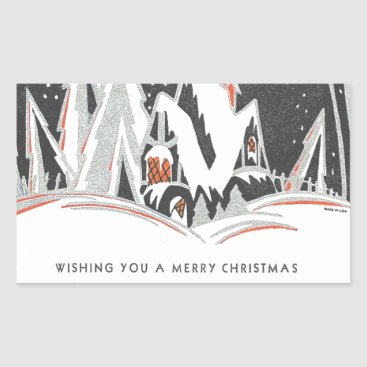 Professional Business Art Deco Winter Holiday Rectangular Sticker