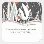 Art Deco Winter Holiday Square Sticker