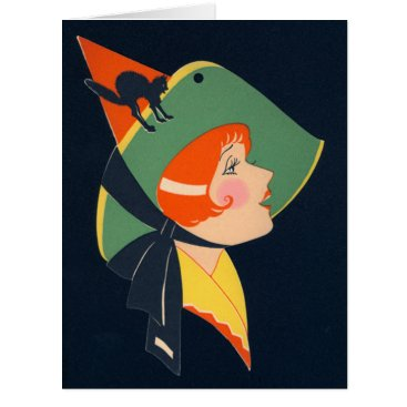 Halloween Themed Art Deco Witch Black Cat Card