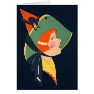 Art Deco Witch Black Cat Card