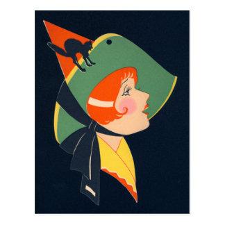 Art Deco Witch Black Cat Postcard