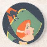 Art Deco Witch Hat Black Cat Coaster
