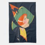 Art Deco Witch Hat Black Cat Towels