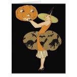 Art Deco Witch Jack O Lantern Pumpkin Black Cat Card