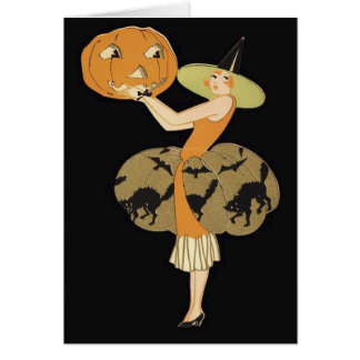Art Deco Witch Jack O Lantern Pumpkin Black Cat Card